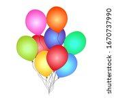 bunch of helium balloon...   Shutterstock .eps vector #1670737990