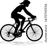 bicyclist riding their bike and ... | Shutterstock .eps vector #1670745556