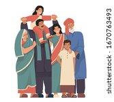 happy indian family portrait....   Shutterstock .eps vector #1670763493
