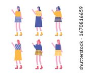 fashion characters lady girl... | Shutterstock .eps vector #1670816659