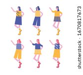 fashion characters lady girl... | Shutterstock .eps vector #1670817673