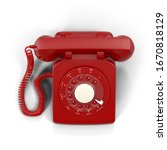 3d Retro Telephone In Red