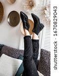 Small photo of photo spring boots, autumn boots, leather boots for women