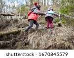 Children Hiking In The...