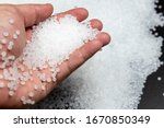 Small photo of Close-up of plastic polymer granules. polymer plastic. compound polymer. plastic beads