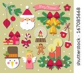 christmas decoration set | Shutterstock .eps vector #167085668