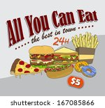 fast food commercial page art... | Shutterstock .eps vector #167085866