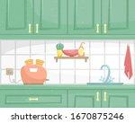 kitchen interior with wooden... | Shutterstock .eps vector #1670875246