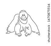 Orangutan Outline Black   Whit...