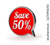 red round save fifty percent... | Shutterstock . vector #167094650