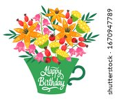 happy birthday floral  natural... | Shutterstock .eps vector #1670947789