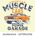 vector muscle car and hot rod... | Shutterstock .eps vector #1670961346