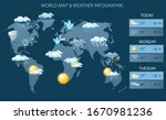 vector world map and weather... | Shutterstock .eps vector #1670981236