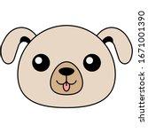 dog happy face head icon. ...   Shutterstock .eps vector #1671001390