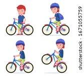 boy riding a bike. vector... | Shutterstock .eps vector #1671055759