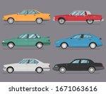 sedan hatchback cartoon vector... | Shutterstock .eps vector #1671063616