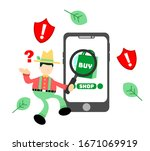 farmer and online shop... | Shutterstock .eps vector #1671069919