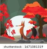 wildlife drawing fox red tree...   Shutterstock . vector #1671081319
