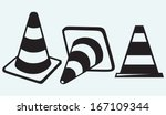 traffic cones isolated on blue...   Shutterstock .eps vector #167109344