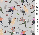 seamless pattern with dancing... | Shutterstock .eps vector #1671154516
