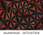 abstract black polygon orange... | Shutterstock .eps vector #1671167326