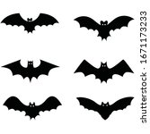 bats icon.black silhouettes of... | Shutterstock .eps vector #1671173233