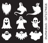 ghost icons. scary white ghosts ... | Shutterstock .eps vector #1671174616