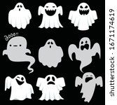 ghost icons. scary white ghosts ... | Shutterstock .eps vector #1671174619