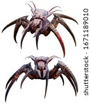 Arachnid horror creature 3D illustration