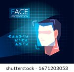 facial recognition technology ... | Shutterstock .eps vector #1671203053