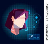 facial recognition technology ... | Shutterstock .eps vector #1671203059