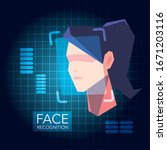 facial recognition technology ... | Shutterstock .eps vector #1671203116
