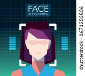 facial recognition technology ... | Shutterstock .eps vector #1671203806