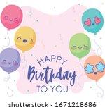 cute cartoon balloons over pink ... | Shutterstock .eps vector #1671218686