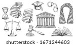 law symbols set. vector hand... | Shutterstock .eps vector #1671244603