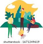 young people enjoy active... | Shutterstock .eps vector #1671249619