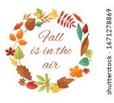 autumn leaves wreath  circle ... | Shutterstock .eps vector #1671278869