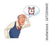 old grandfather with alarm... | Shutterstock .eps vector #1671324643