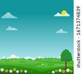 beautiful nature landscape... | Shutterstock .eps vector #1671374839