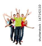group of excited people happy... | Shutterstock . vector #167142110