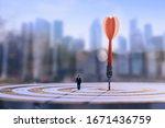 businessman standing lookup red ... | Shutterstock . vector #1671436759