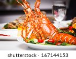 a luxury dish of lobster... | Shutterstock . vector #167144153