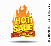 hot sale banner template with... | Shutterstock .eps vector #1671463366