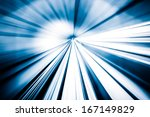 abstract train moving in tunnel | Shutterstock . vector #167149829