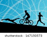 triathlon marathon active young ... | Shutterstock .eps vector #167150573