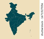 indian map with states vector... | Shutterstock .eps vector #1671527056