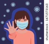 little girl wearing mask and... | Shutterstock .eps vector #1671573163