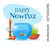happy nowruz font with goldfish ...   Shutterstock .eps vector #1671616336