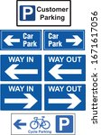 car park signs way in way out... | Shutterstock .eps vector #1671617056