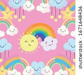 rainbow with sun  clouds and... | Shutterstock .eps vector #1671648436